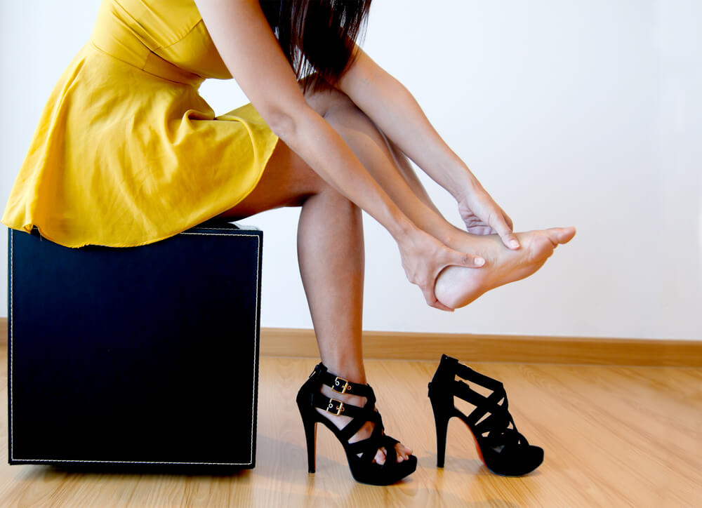 High heels require body compensation