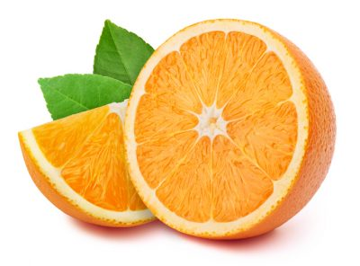 Perfectly retouched half of the orange with slice and leaves isolated on white background with clipping path